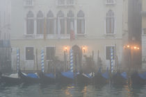 A row of gondolas seen through the fog on the Grand Canal by Danita Delimont