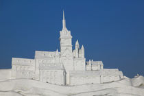 Harbin International Sun Island Snow Sculpture Art Fair--French Chateau made of snow by Frozen Sun Island Lake by Danita Delimont