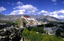 Potala Palace on mountain range from another mountain the home of the Dalai Lama in capital city of Lhasa Tibet China von Danita Delimont