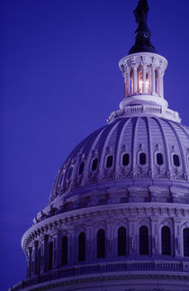 S Capitol at dusk with light in dome on showing that Congress is in session von Danita Delimont