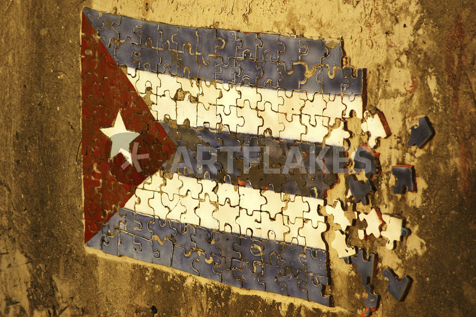 Mosaic puzzle of the cuban flag in decomposition on a rundown wall ...
