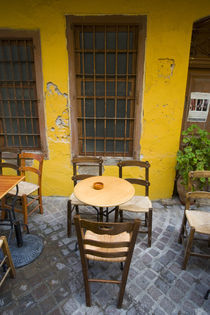Greek Island of Crete and old town of Chania with outdoor cafe seating by Danita Delimont
