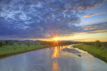 The Powder River catches last light in Custer County Montana by Danita Delimont