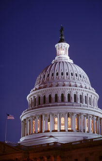 The capitol dome at dusk with the light on showing that congress is in session by Danita Delimont