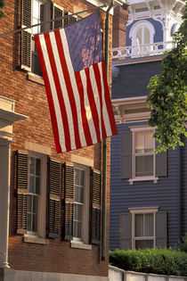 Main Street and US flag; patriotism by Danita Delimont