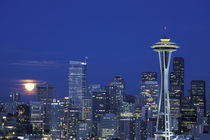 Seattle Skyline with full moon rising by Danita Delimont