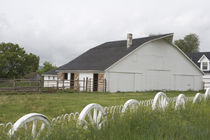 White barn and wagon-wheel fence on farm by Danita Delimont
