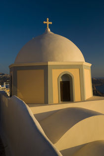 Greece and Greek Island of Santorini town of Fira and church with it dome along the caldera von Danita Delimont