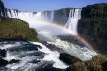 Aerial view of the waterfalls with a rainbow over them von Danita Delimont