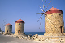 Famous old windmills of Rhodes Greece by Danita Delimont