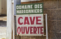 Sign indicating that the winery is open by Danita Delimont