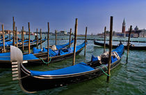 Grand Canal water with gondalo boats lined up for use in romantic city of Venice Italy Venezia Italian by Danita Delimont