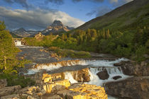 Morning light greets Swiftcurrent Falls in the Many Glacier Valley of Glacier National Park in Montana von Danita Delimont