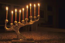 Menorah with all candles lit for Chanukah von Danita Delimont