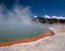 Steam rising from Champagne Pool at WAI-O-TAPU Thermal Area on the North Island of New Zealand by Danita Delimont