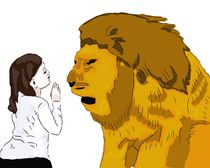 Lion-and-girl