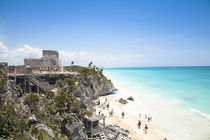 Mexico - Ruins on a hill overlooking a tropical beach by Danita Delimont