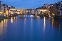 Night Reflections in the River Arno and the Ponte Vecchio Bridge by Danita Delimont