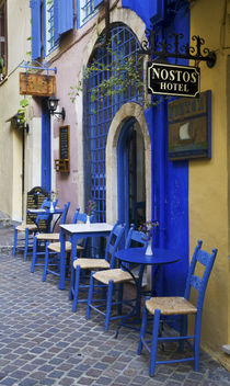 Colorful Blue doorway and siding to old hotel in Old town of Chania Greek Island of Crete by Danita Delimont
