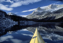 Kayak bow on calm water at Bow Lake by Danita Delimont