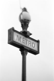 Metro sign (defocussed) by Danita Delimont