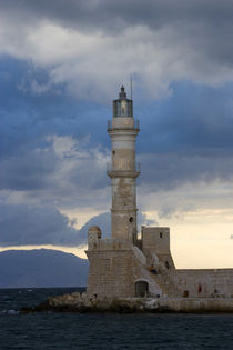 Greek Island of Crete and old town of Chania with Venetian Lighthouse along the old harbor von Danita Delimont