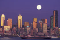 Seattle Seattle skyline with full moon by Danita Delimont