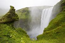 Skogarfoss Waterfall plunges over a volcanic cliff von Danita Delimont