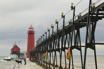 Grand Haven: Grand Haven Lighthouse / Early Winter Storm by Danita Delimont