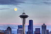 Seattle skyline with moon rising from Kerry Park by Danita Delimont