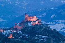 SION: Basilique de Valere (12th century) & Town Evening/ Winter by Danita Delimont