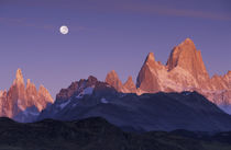 Patagonia Parque Nacional los Glaciares Moon over Cerro Torre and Cerro Fitz Roy at sunrise by Danita Delimont