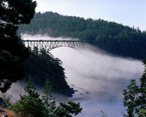 Fog drifts under the Deception Pass bridge at Deception Pass State Park von Danita Delimont