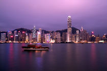 City skyline and Victoria Harbor at night von Danita Delimont