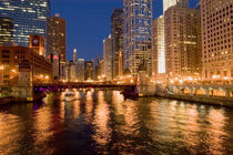Skyline and Chicago River at Night von Danita Delimont