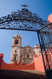 The gated entrance to the Church of San Cayentano or Valenciana above the city of Guanajuato in the village of Valenciana by Danita Delimont
