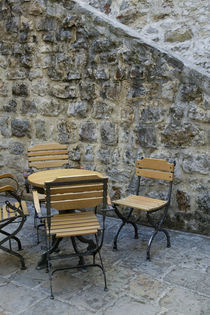 Montenegro-Budva:Budva Old Town / Stari Grad- Cafe Table and Chairs by Danita Delimont