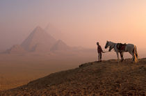 Giza pyramids at dawn with horses and guide (MR) by Danita Delimont