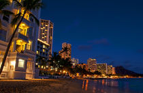 Night exposure of Waikiki Beach with Diamond Head in background by Danita Delimont
