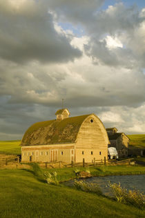 Last Light on Old Barn and Pond with Wild Clouds von Danita Delimont