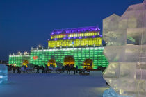 Haerbin Ice and Snow World Festival-All Buildings built of ice-Entrance Gate and Horse Drawn Carriages by Danita Delimont