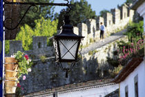 Iron streetlamp and 14th century crenellated walls that surround hill town by Danita Delimont