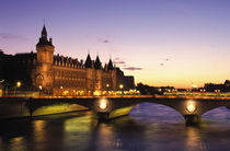 River Seine and Conciergerie at dusk by Danita Delimont