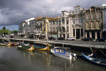 Moliceiros (seaweed collecting boats) moored along the Canal Central by historic buildings von Danita Delimont