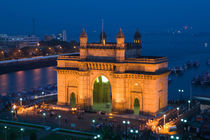 Mumbai (Bombay): Gateway of India / Evening / from Taj Mahal Hotel Balcony by Danita Delimont