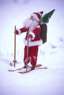 Toy Santa Claus on skis and snow von Danita Delimont