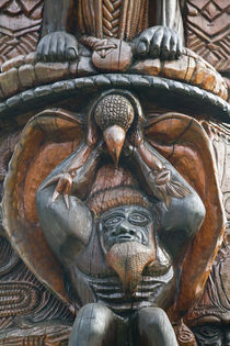 Polynesian Carving detail on the MWA KA totem Pole by Danita Delimont