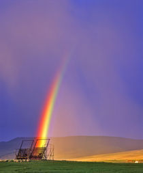 Beaverhaed Haystcker in rainbow in Big Hole Valley of Montana by Danita Delimont