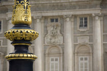 Ornate gilded lamp pole in palace courtyard by Danita Delimont