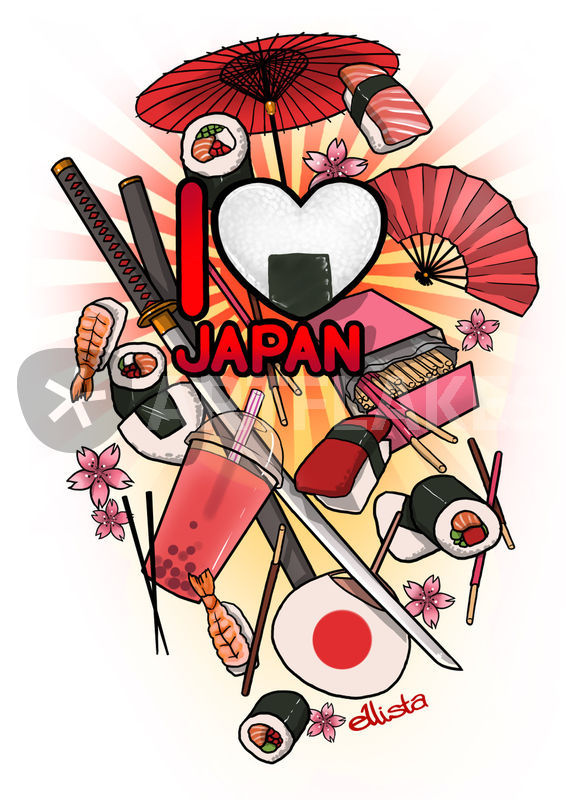 """""""I Love Japan"""" Drawing Art Prints And Posters By Eloise"""